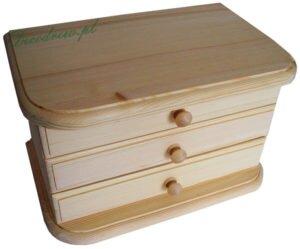 Drewniana szkatułka z lusterkiem przegrodami oraz trzema szufladkami
