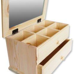 Drewniana herbaciarka sześć przegródek, szufladka i klapa z szybą.
