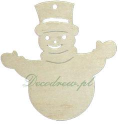 Produkcja elementów drewnianych.Wycinanki ze sklejki. Bałwanek boze narodzenie ornament.