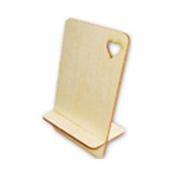 Drewniany stojak pod telefon komórkowy.Wycinany laserem wzór serca wycinanki laserowe
