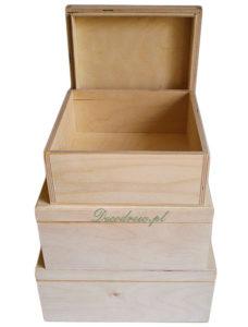 Pudełka drewniane zestaw trzech sztuk