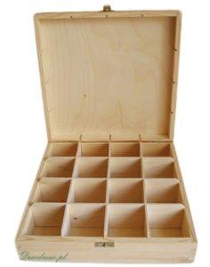 Ozdobna skrzynka drewniana na herbaty. Szesnaście przegródek ze sklejki.