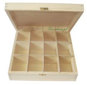 Herbaciarka drewniana z dwunastoma przegrodami. Drewniana produkcja galanterii decodrew.