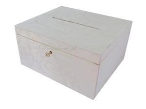 Ekspozytor ze sklejki na koperty z ozdobnymi kluczykiem i otworem na koperty