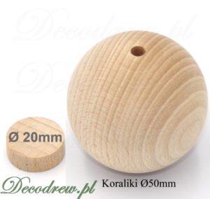 Bukowe kulki o dużej średnicy 50mm. Przeznaczone do produkcji zabawek i dekoracji.