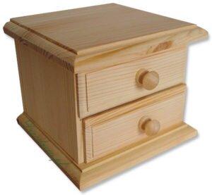 Komódka drewniana z dwiema szufladami.