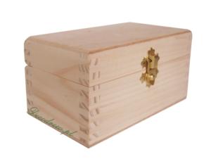 Drewniana herbaciarka 2 przegródki do decoupage-15cm x 9cm x wys;8cm