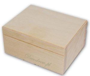 Pudełko drewno materiał czerwony flok.