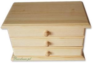 Drewniana skrzynka z szufladami i lustrem