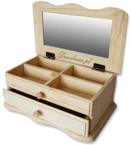 Szkatułka drewniana z lustrem