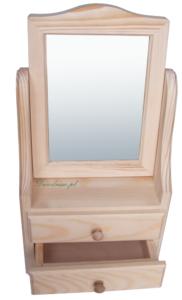 Drewniana toaletka z lustrem dwie szuflady