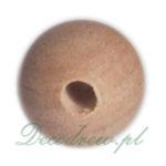 Toczona drewniana kuleczka z otworem, drewniane koraliki hurt, drewniane korale do wyrobu biżuterii decoupage.