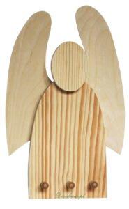 Drewniany wieszak anioł.
