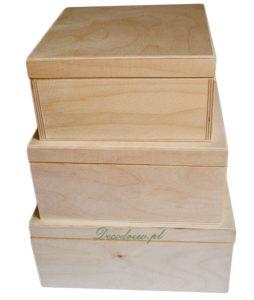 Komplet pudełek drewnianych do ozdabiania decoupage.