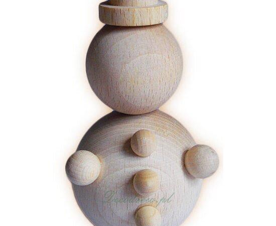 Drewnainy bałwanek, rękodzieło decoupage. Tokarstwo w drewnie decodrew.