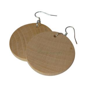 Surowe drewniane zawieszki kolczyki bigle.