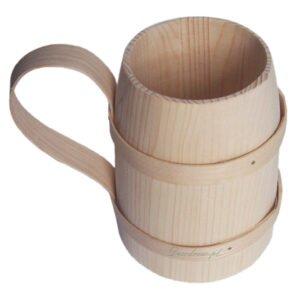 Ozdobny drewniany kufel decoupage