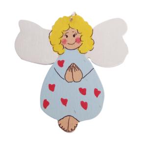 Drewnaina wycinanka w formie aniołka