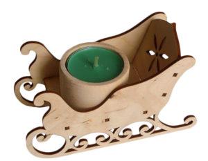 Drewniane ozdoby świąteczne. Sanki wycinanki laserowe ze sklejki decodrew