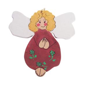 Anioł drewniany malowany