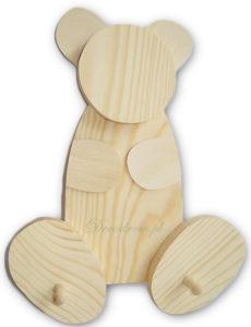 Wieszak drewniany miś