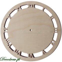 Wycinanki laserowe Drewniane tarcze zegarowe, cyfry rzymskie.