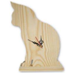 Drewniany kot zegar wycinanka