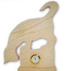 Zegar drewniany kot z mini mechanizmem.