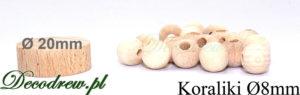 Miniaturowe drewniane koraliki hurt, porównanie rozmiaru kulek Ø8mm z krążkiem znacznikiem o średnicy 20mm.