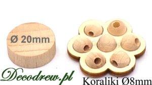Produkcja sprzedaż elementy toczone drewniane koraliki o średnicy 8mm miniaturowe.