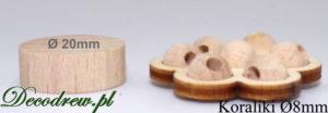 Korale drewniane miniaturowe średnica 8mm. Koraliki w ozdobnej podstawce kwiatku.