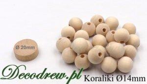 Niemalowane surowe korale drewniane producent. Średnica kulki 14mm.