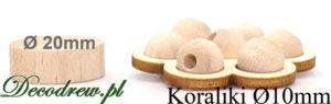 Produkcja koraliki drewniane naturalne o średnicy 10mm.