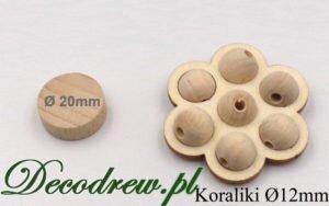 Kulki drewniane o średnicy 12mm umieszczone w ozdobnej podstawce.