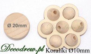 Korale drewniane kolorowe Ø10mm, porównanie wielkości.