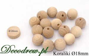 Rękodzieło artystyczne, ZPT drewniane kulki dla dzieci z otworem przelotowym.