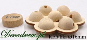 Produkujem drewniane kulki na korale, średnica koralika 16mm. Kulki umieszczone w ozdobnym koszysczku.