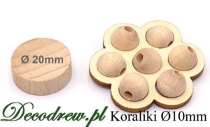 Surowe koraliki drewniane dla dzieci, średnica 10mm. Koraliki mini w podstawce kwaitku.