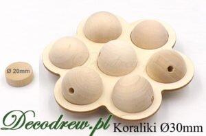 Drewniane kulki na główki do zabawek z otworem przelotowym na gumkę. Dekoracyja w formie kwiatu.
