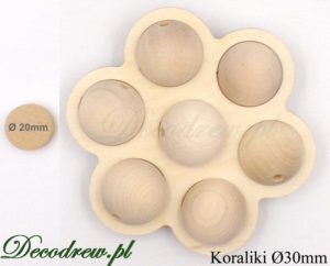 30mm średnicy korale drewniane kolorowe na specjalne zamówienie. Kulki drewniane surowe w ozdobie kwiatku.