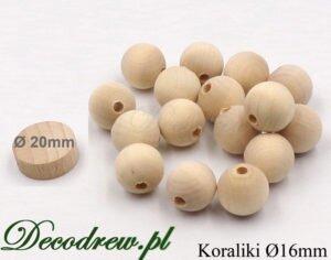 Korale drewniane do wykonywania ozdób i zabawek. Średnica 16mm otwór przelotowy, stała oferta.