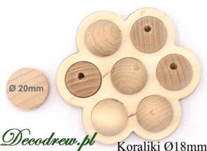 18mm koraliki drewniane sklep, kulki umieszczone w ozdobnej podstawce kwaitku.