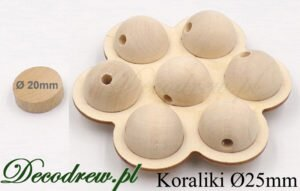 Korale drewniane 25mm producent. Kulki w ozdobnym stojaku wyciętym z drewna.