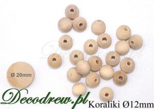 Zestaw koralików drewnianych o średnicy 12mm.
